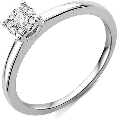 Miore Women S Diamond Engagement Ring 9 Carat White Gold 375 Gold Diamonds 0 10 Carat Amazon De Schmuck
