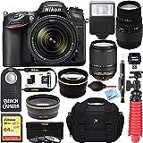 Nikon D7200 DX-format Black Digital SLR Camera Kit (1555) with 18-140mm VR & 70-300mm f/4-5.6 SLD DG Macro Telephoto Lens + Accessory Bundle