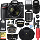 Nikon D7200 DX-format Black Digital SLR Camera Kit (1555) with 18-140mm VR & 70-300mm f/4-5.6 SLD DG Macro Telephoto Lens + Accessory Bundle