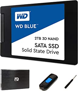 "FD 2TB SSD Upgrade Kit - Includes 2TB Western Digital Blue SSD, 2.5"" Enclosure, and Drive Cloner Software in USB Drive - Great for Gaming PC, Gaming Laptops, and MacBook"