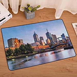 City Front Door Mats Early Morning Scenery in Melbourne Australia Famous Yarra River Scenic Carpet with Non-Slip Rubber Backing for Kids Nursery, W31 x L47 Orange Green Pale Blue