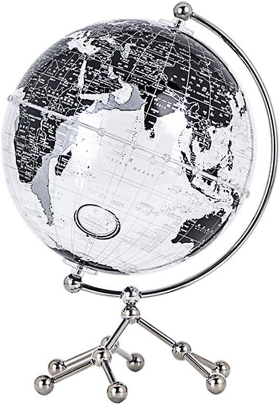 地球儀 詳細な世界地図のためにクリエイティブギフトオフィス研究装飾付きスタンド付きクリエイティブ透明世界グローブ装飾グローブ 耐傷性、耐変色性に優れています (Color : Black, Size : 20cm)