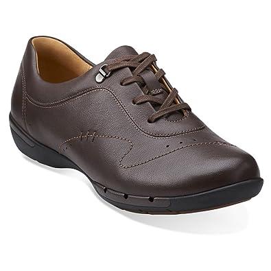 CLARKS Un Halsie Womens Dark Brown Leather Oxford 6-MEDIUM ab2b90032c