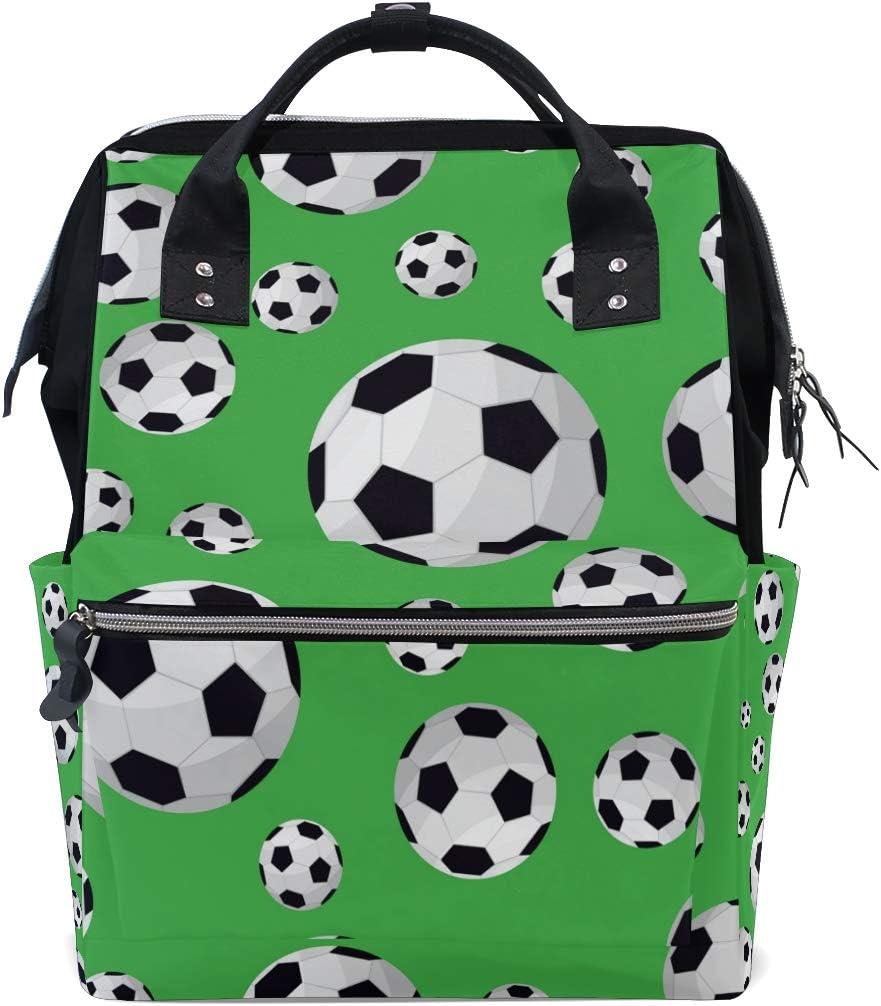 WowPrint - Bolsa para pañales de fútbol, deportes, fútbol, bolsa para pañales, organizador de gran capacidad, mochila de viaje multifunción para el cuidado del bebé
