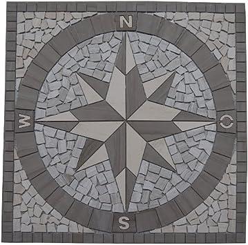 Marmor Rosone 120x120 cm Windrose Mosaik Einleger Naturstein Kompass Fliesen 030