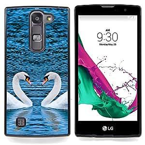 "Qstar Arte & diseño plástico duro Fundas Cover Cubre Hard Case Cover para LG G4c Curve H522Y ( G4 MINI , NOT FOR LG G4 ) (Corazón pintoresco Dos cisnes"")"