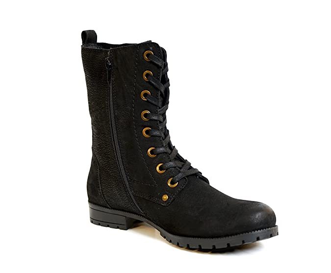 fb5ca6756cbe Aspele Womens Leather Black Brown Combat Military Style Biker Ankle Boots  with Lace up and Zip  Amazon.co.uk  Shoes   Bags