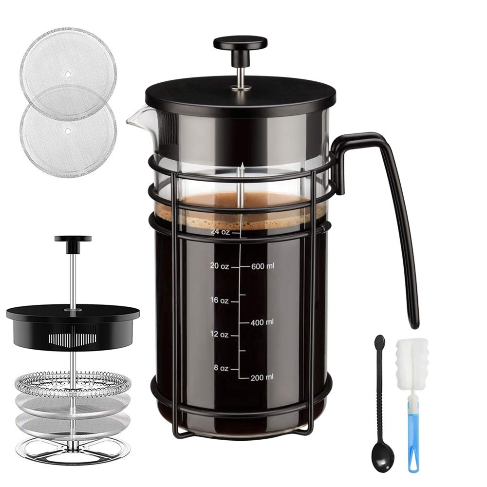 Chrider French Press Coffee Maker (32 oz 8 Cups) Coffee Press with 304 Stainless Steel 4 Level Filtration System, Precise Scale Easy to Clean Durable Heat Resistant Borosilicate Glass - Black by Chrider