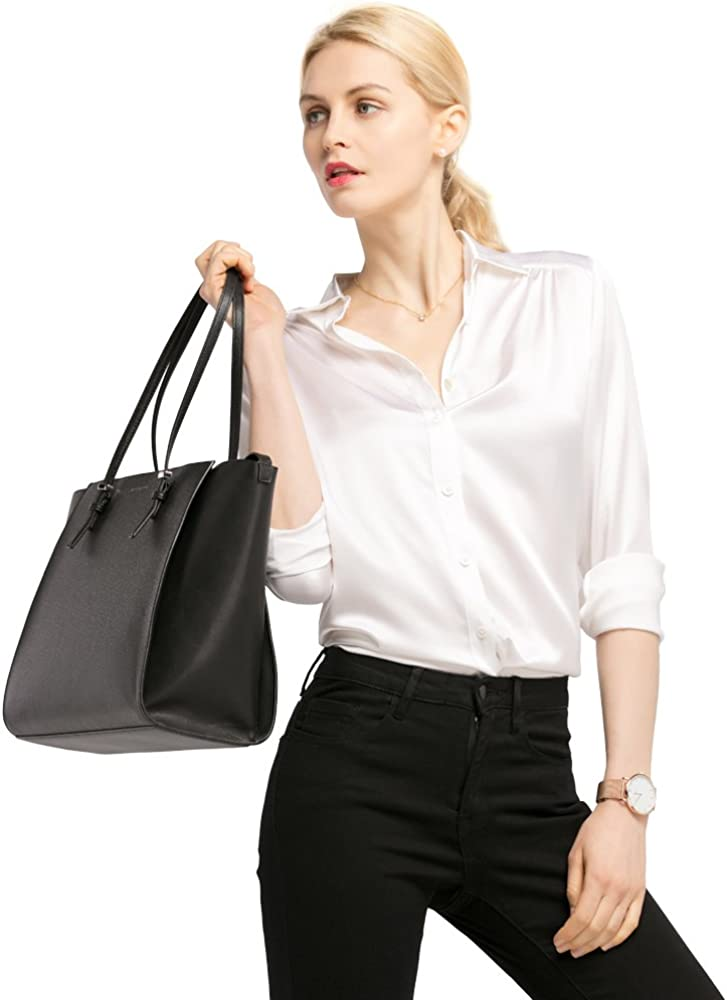 LilySilk Silk Blouse Shirts Womens Long Sleeves Collared 19MM Natural Silk Charmeuse Office Wear Basic Simple Tops