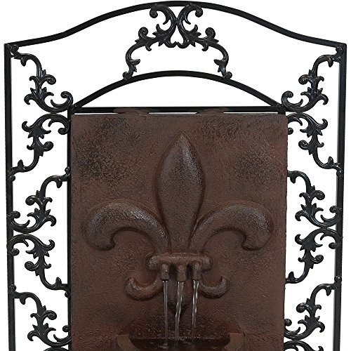 Sunnydaze French Lily Outdoor Wall Mounted Water Fountain with Electric Submersible Pump, 33-Inch, Iron Finish by Sunnydaze Decor (Image #5)
