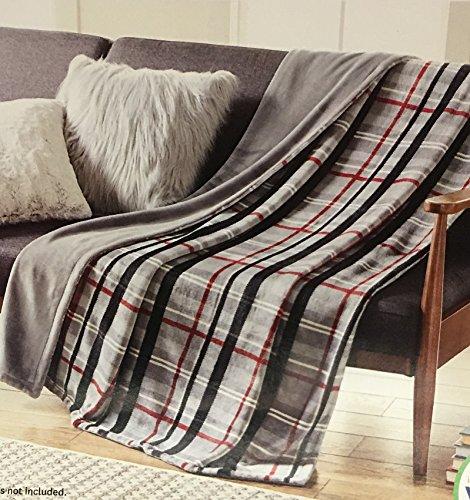 Better Homes and Gardens Gray Plaid Oversize Reversible Velvet Plush Throw Blanket from Better Homes & Gardens