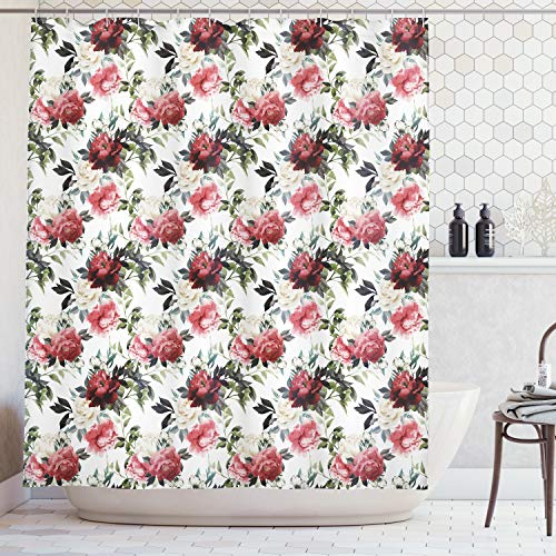 Ambesonne Shabby Chic Shower Curtain, Floral Flower Roses Buds with Leaves and Branches Art Print, Cloth Fabric Bathroom Decor Set with Hooks, 70 Inches, Olive Green