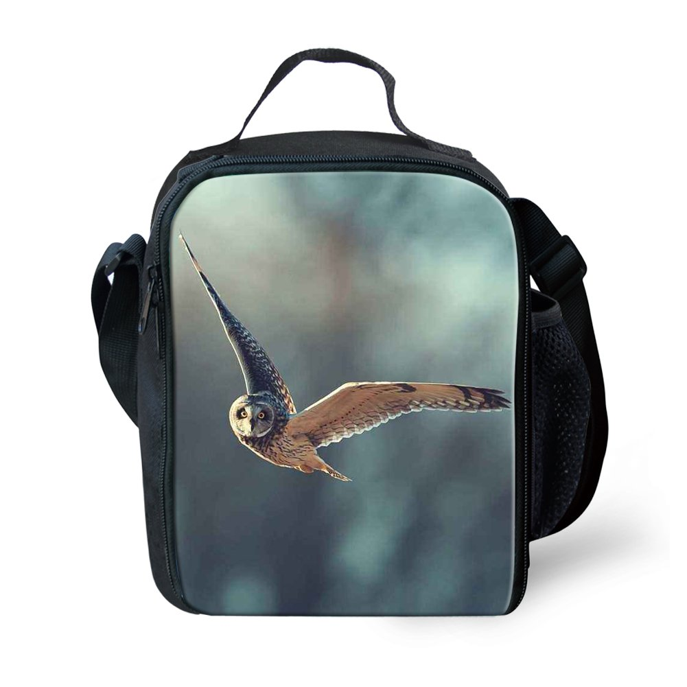 Amzbeauty Owl Lunch Bag for Kids 3D Print Reusable Square Insulated Lunch Box AMZ-FUD-G-HBC18313G