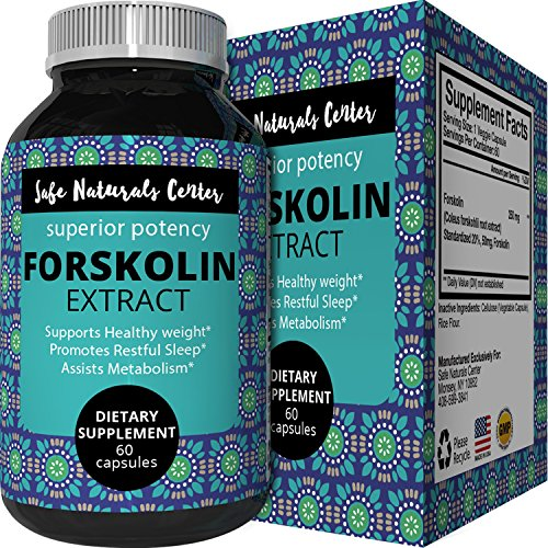 Best Forskolin Weight Loss Supplement for Men & Women - Coleus Forskohlii Extract Standardized 20% Forskolin Diet Pills Fat Burner Energy Booster Potent Appetite Suppressant - Safe Naturals Center