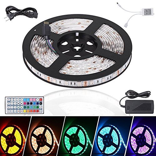 Litake LED Light Strip 16.4ft Waterproof 5050 LED Tape Light, 300 LEDs Color Changing RGB LED Ribbon Kit with Power Plug 44Keys Remote Control for Christmas Festival Party Home Garden Decoration