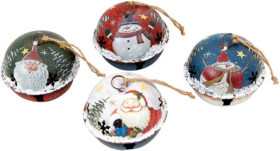 Christmas Tree Ornament Metal Rustic Jingle Bell Hanging Ornaments with Snowman Santa, Decorative Sleigh Bells Winter Decor Xmas Party Supplies Holiday Decoration for Home (Set of 4)