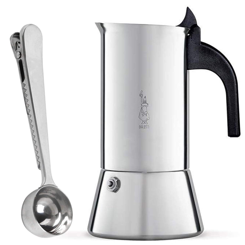 Bialetti Venus Cafetera Italiana Express de Inducción de Acero Inoxidable para 4 Tazas, Adecuada para Todos los Tipos de Cocina y Cuchara para Café ...