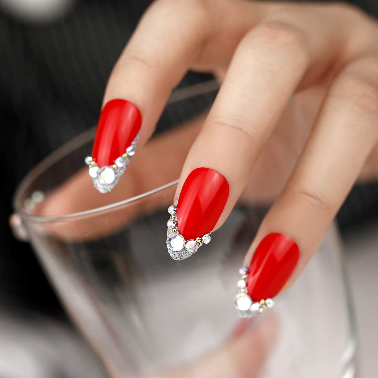 Amazon.com ArtPlus Fake Nails 24pcs Christmas Red Silver
