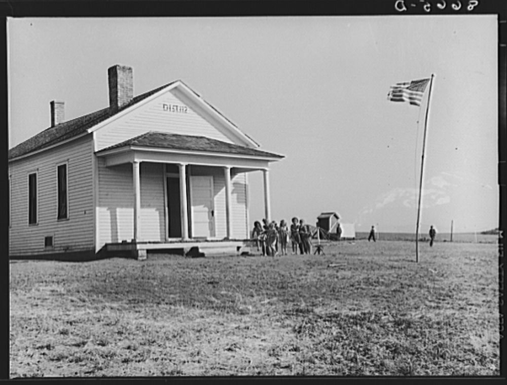 One-room schoolhouse. Seward County, Nebraska. Nebraska's school system is very little consolidated; these little white schools are on county crossroads throughout the state