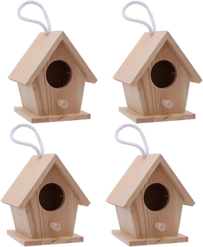 Artibetter 4 Piezas Comedero para Pájaros Colgante Nido de Pájaro de Madera Comedero para Pájaros Salvajes para Loro Gorrión Jardín Patio Decoración Al Aire Libre