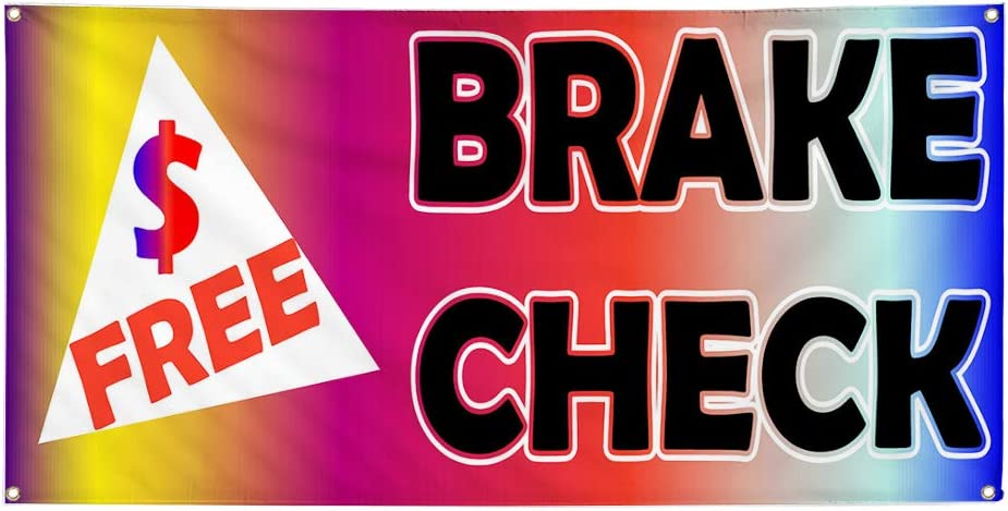 Multiple Sizes Available 44inx110in Vinyl Banner Sign Free Brake Check Rainbow Black Marketing Advertising Multi-Colored 8 Grommets One Banner