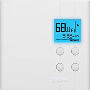 Stelpro STE402PWB+ Line Voltage, Set Back, 5-2 Day Multiple Programming Thermostat, Wiring Options 120/208/240V, from 150W to 4000W, White