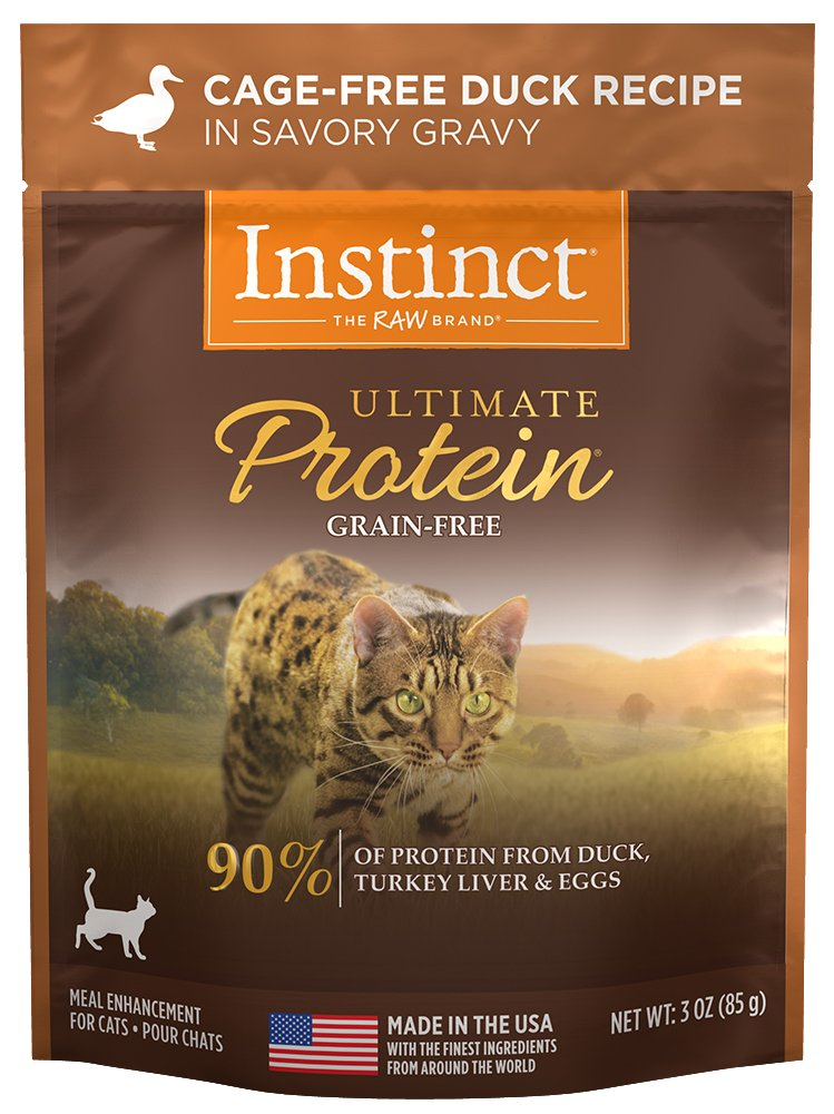 Instinct Ultimate Protein Grain Free Cage Free Duck Recipe Natural Wet Cat Food Topper by Nature's Variety, 3 oz. Pouches (Case of 24)