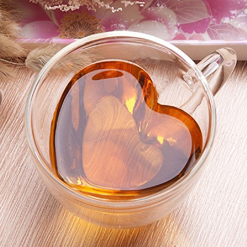 LauderHome Heart Shaped Double Walled Insulated Glass Coffee Mugs or Tea Cups, Double Wall Glass 10 oz - Clear, Unique & Insulated with Handle ()