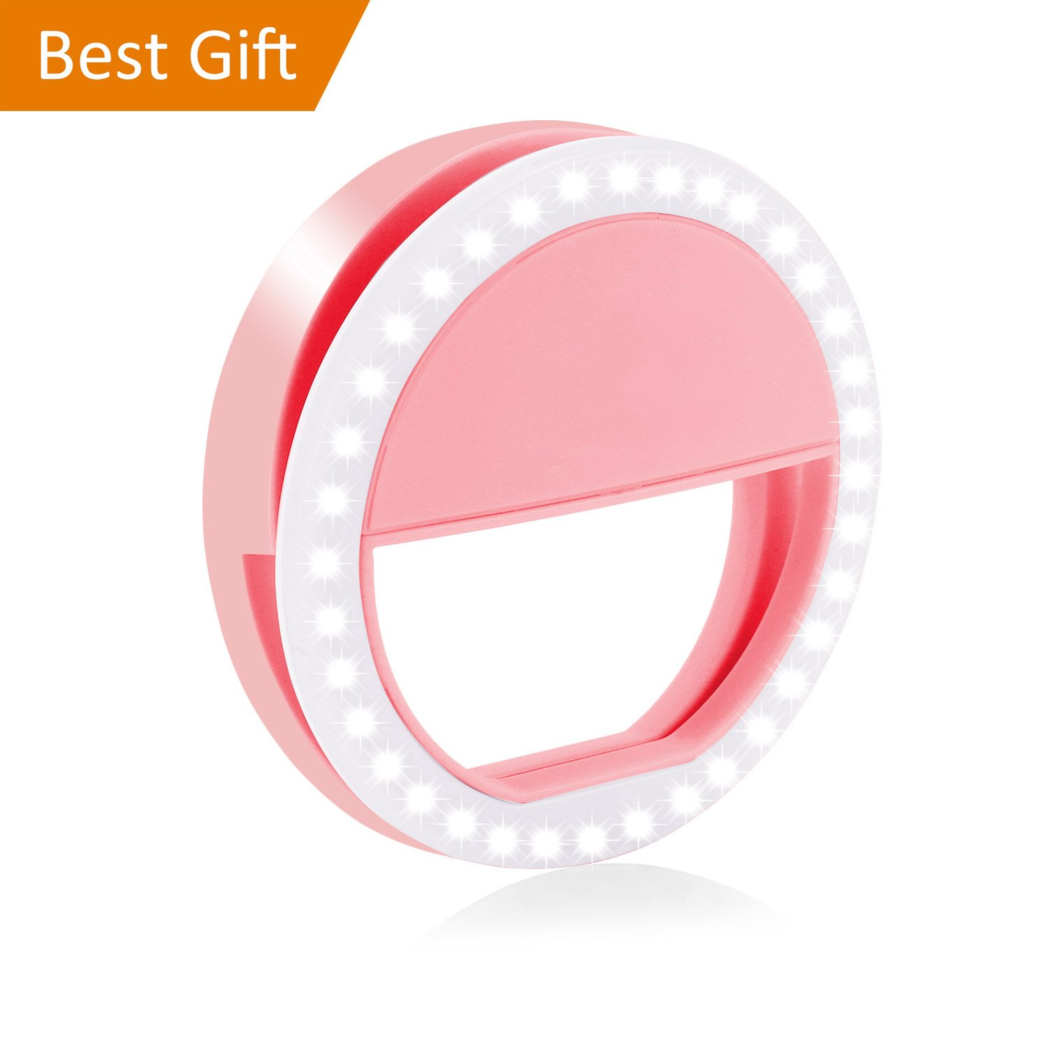 Fodizi Selfie Ring Light for Any Cell Phone [Rechargable][4 Perfect Mode] 36 Led Selfie Ring Light for iPhone iPad Clip On Camera Photography - Pink