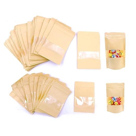 JZK 100 x Resellable bolsas de papel kraft marrón con ...