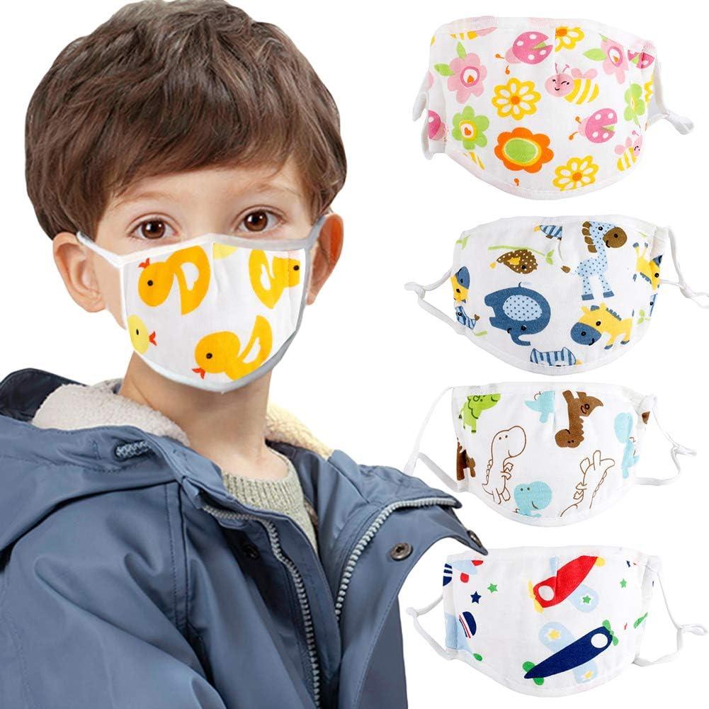 toataLOpen Protective Mouth Visor Face Cover Kids Children Cotton Cartoon Adjustable 5 Layers Anti Dustproof Mouth Little Dinosaur