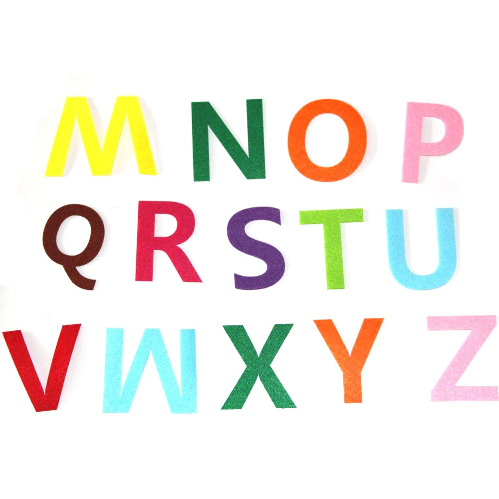 RERIVER 3.2-Inch Felt Alphabet Letters 52Pcs A to Z Assorted Colors Fabric ABCs for DIY Craft KidsToys Christmas Birthday Party Decoration