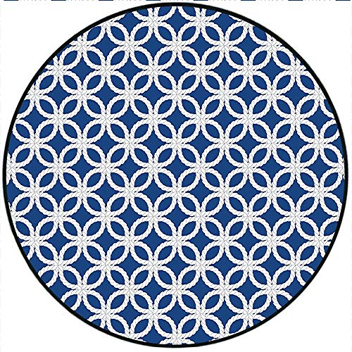 Short Plush Round Rug Navy Woven Marine Life Inspired Ropes in Square Shapes Geoemtric Grid Art Navy Blue and White Living Room Coffee Table 55