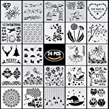 #7: YUEAON 24 PACK drawing and painting stencils templates for bullet journal ,scrapbooking,planner,cake decoration,diy graffiti craft