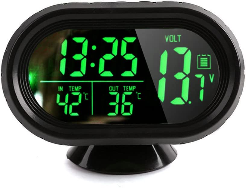 Thermom/ètre Temp/érature et Surveillance de Tension Careshine Multifonctionnel Horloge de Voiture Num/érique DC 12V ~ 24V LED Allum/é Num/érique Voiture Horloge