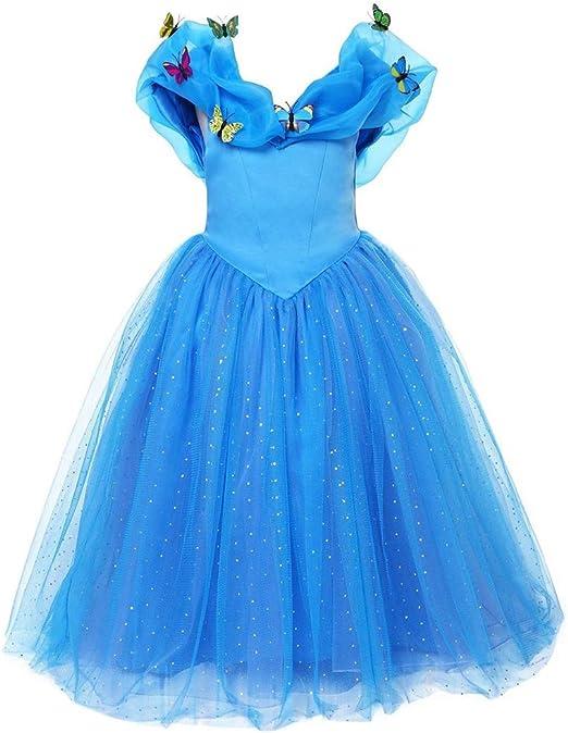 MKLKYY Cenicienta Disfraz Cinderella Carnaval Traje de Princesa ...