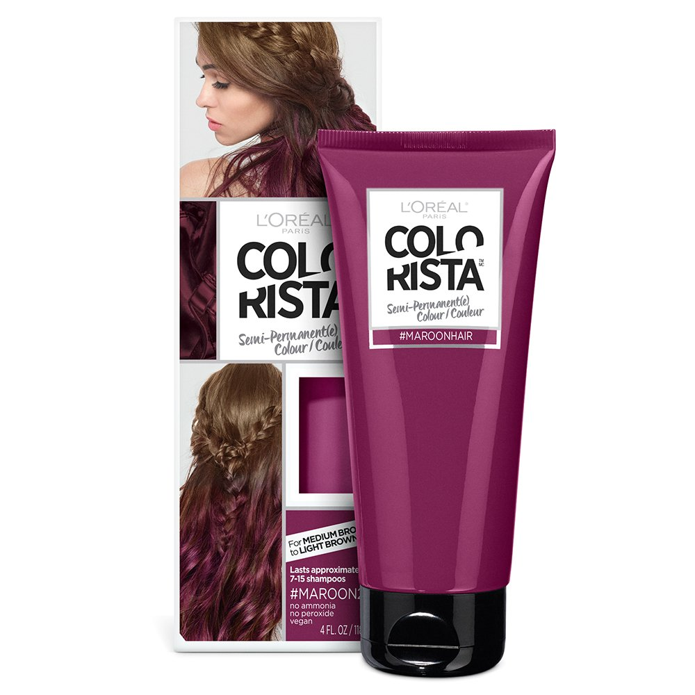 L'Oreal Paris Hair Color Colorista Semi-Permanent for Brunette Hair, Maroon
