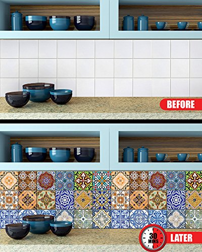 Kitchen Floor Tiles Design Malaysia: With MK Tile Stickers 24 PC Set Traditional Talavera Tiles