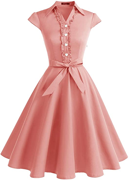50s Dresses UK | 1950s Dresses, Shoes & Clothing Shops WedTrend Womens 1950s Retro Rockabilly Dress Cap Sleeve Vintage Swing Dress £27.89 AT vintagedancer.com