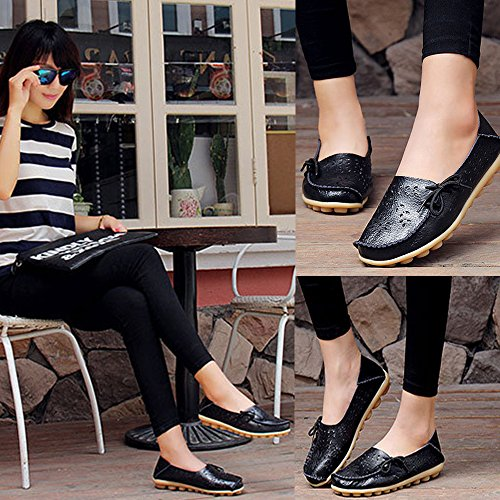 Ofenbuy Womens Leather Loafers Cowhide Hollow Out Casual Slip-on Slippers Driving Flat Shoes Black c5aE2pYY2