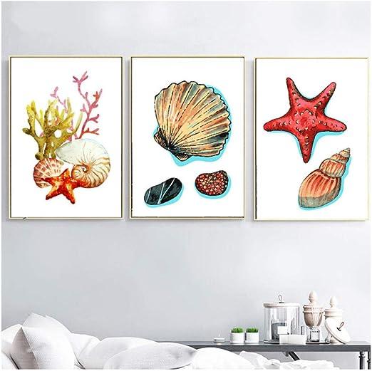 Home Decor Wall Art Sea Shell Art//Canvas Print Poster