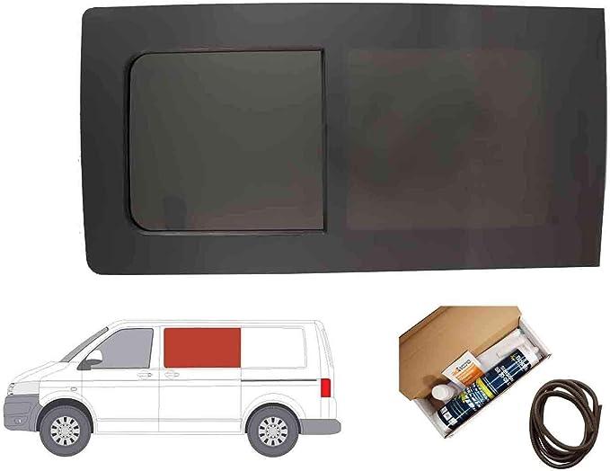 Mano izquierda ventana abatible para puerta corredera, tintado oscuro para Volkswagen Transporter T5 (2003 – 2015): Amazon.es: Coche y moto