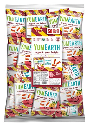 ten Free Sour Twists Snack Packs, Watermelon Lemonade, 50 Count (Natural Organic Twist)