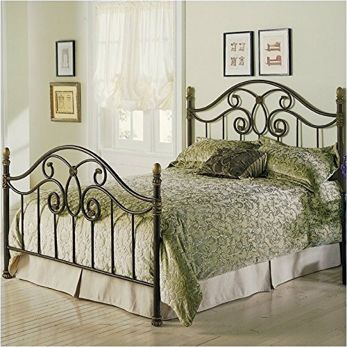 Brown Queen Poster Bed - Pemberly Row Queen Metal Poster Bed in Autumn Brown