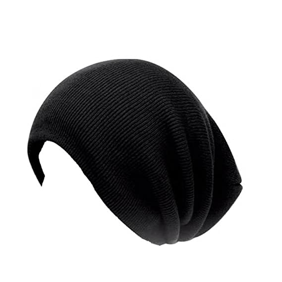 f93ba7488df Black Ribbed Oversized Beanie Hat in Black - one size fits most   Amazon.co.uk  Clothing