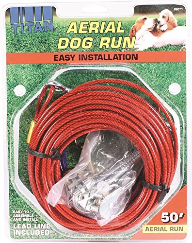 Titan Aerial Dog Run Dog Trolley Tie Out Cable System � 50 feet by Coastal Pet