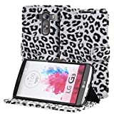 Fosmon® LG G3 (CADDY-LEOPARD) Leather Multipurpose Wallet Case Cover Pouch with Card Pocket Slots for LG G3 2014 (White)