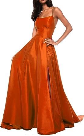 2018 Sexy Cross-Back Stain Slit Prom Dresses Orange US14 Size