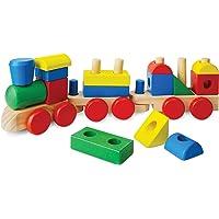 Melissa & Doug Tren apilable (juguete clásico de madera para niños pequeños, 18 piezas)