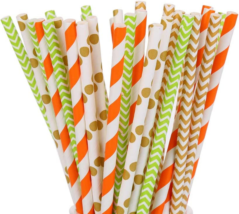 Luckydo Biodegradable Striped Paper Straws,Paper Drinking Straws for Party, Events and Crafts,Baby Shower Decorations 7.75 Inches, 100 Pack (Mix of 4 Colors and Styles)